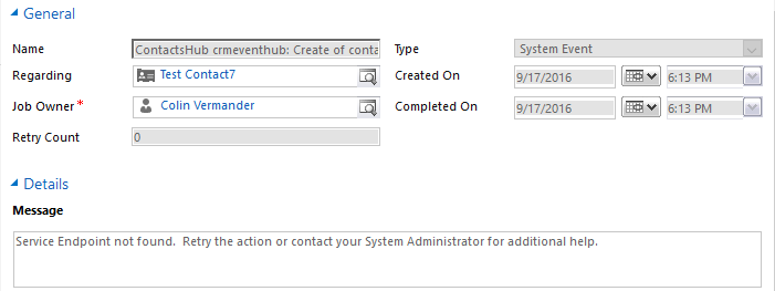 CRM System Jobs Cancelled System Event